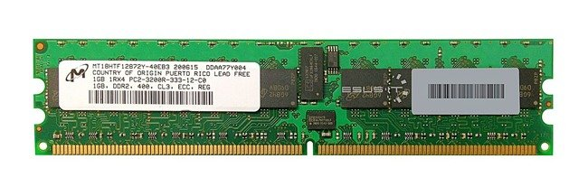 Memory RAM 1x 1GB Micron ECC REGISTERED DDR2  400MHz PC2-3200 RDIMM | MT18HTF12872Y-40EB3